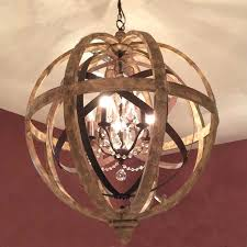 wood orb chandelier rustic