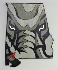 hand crafted and painted alabama crimson tide elephant state wood cut out wall art  on alabama elephant wall art with hand crafted and painted alabama crimson tide elephant state wood