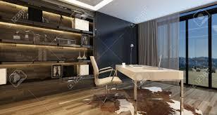 Elegantes Haus Büro Interieur Mit Einem Modernen Schreibtisch Mit