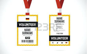 Event Volunteer Id Card Set With Lanyard Vector Design And Text ...