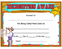 Most Likely To Award Template Free Printable Most Likely To Blank Awards Certificates