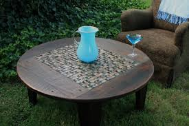 round outdoor coffee table. Furniture, Dark Brown Rustic Varnished Wood Plus Tile Accent Round Outdoor Coffee Table Designs For T