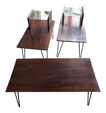 Coffee Table Set Of 3 Mid Century Modern Hairpin Walnut Coffee End Tables Set Of 3