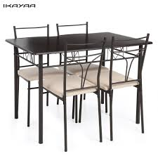 Ikayaa 5 Pcs Moderne Metall Rahmen Esszimmer Küche Tisch