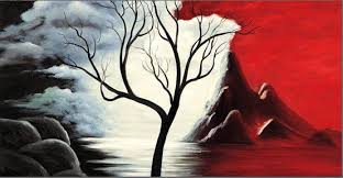 new beginnings red black white tree landscape abstract canvas wall art picture on red black white wall art with new beginnings red black white tree landscape abstract canvas wall