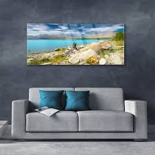 sea landscape blue glass wall art