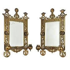 ant 524 pair of eastlake style brass candle holder wall sconces with beveled mirrors