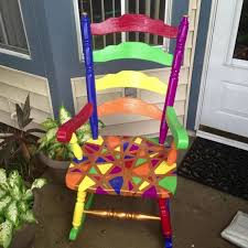 multi colored painted furniture. Items Similar To Multi-colored Painted Wood Rocking Chair On Etsy Multi Colored Furniture O