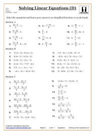 solving equations maths worksheet