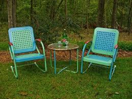 vintage metal furniture. cute paint scheme on the retro metal lawn chairs vintage furniture r