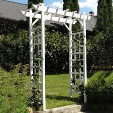 dura trel 5 3 ft w x 7 ft h white garden arbor