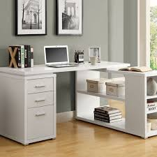 white office furniture ideas using white wooden corner office desk with three drawers also white flat handling and shelves