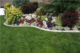 Outdoor, Breathtaking Colourful Rectangle Vintage Grass Flower Beds In Front  Of House Ornamental Many Flowers