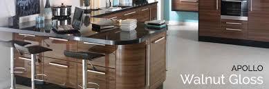 walnut gloss kitchen doors first kitchens