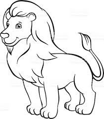cute lion drawing. cute lion stands and smiles. royalty-free stock vector art drawing