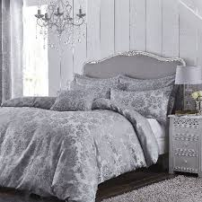 super kingsize damask jacquard silver duvet cover set