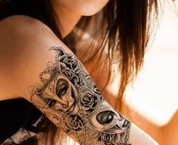 Mask With Roses Tattoo For Girl On Right Shoulder Tattoo