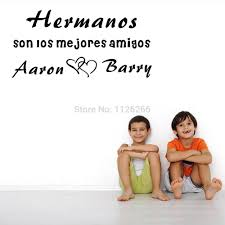 Us 629 10 Offpersonalized Spanish Quotes Brothers Sisters Names Love Heart Son Los Mejores Amigos Wall Stickers Sweet Words Kids Room Decor In