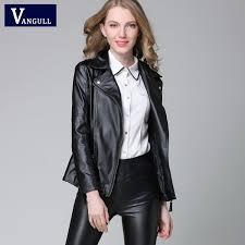 2016 new elegant autumn winter leather jacket women 39 s short black red pu