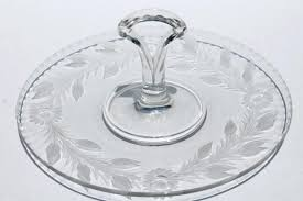 glass serving tray vintage etched cut daisy wreath glass serving tray w center handle sandwich or cake plate glass serving trays and platters