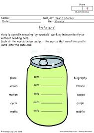 Phonics worksheets and online activities. Literacy Prefix Auto Worksheet Primaryleap Co Uk