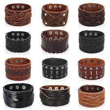 obsede new fashion men wide leather bracelet brown wide cuff bracelets amp bangles wristband vintage punk men jewelry 3 row clasps womens charm bracelets