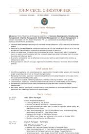 Area Sales Manager Resume Samples Visualcv Resume Samples Database