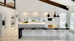 kitchens with white appliances and white cabinets. Kitchen Glossy White Cabinets Island 4 Metal Chairs Appliances Kitchens With And