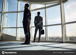 suits office. Two Businessmen Suits Standing Office Center \u2014 Stock Photo