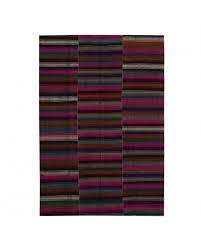 kilim stripe in wool brown 5 10 x 8 04