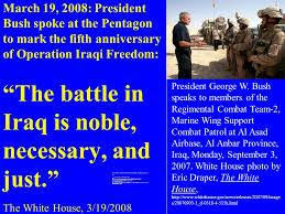 「On March 19, 2003, in a televised address, US President George W. Bush tells Americans that Operation Iraqi Freedom has begun.」の画像検索結果