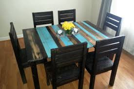 perfect teal dining table rustic kitchen furniture reclaimed barn wood with additional magnificent room style and chair decor accessory centerpiece runner