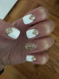 Nail Designs For Wedding Guest 2019 White Gold Glitter Nail Design Wedding Guest Nails 2017