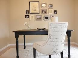 furniture white fabric desk chair with black wooden legs added by rectangle black wooden desk