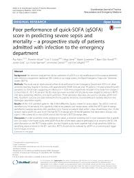 pdf poor performance of quick sofa qsofa score in predicting severe sepsiortality a prospective study of patients admitted with infection to