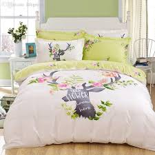 whole deer bedding set lawn green and beige home textiles plain printed 100 cotton comforter set queen the new listing dropship duvet covers