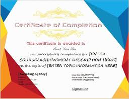 Templates For Certificates Certificates Of Completion Templates For Ms Word