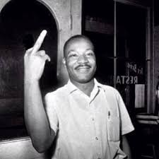 martin luther king jr was an  fake martin luther king flipping the middle finger fact photoshop of a photo where he holds up two fingers after learning that the senate had passed the