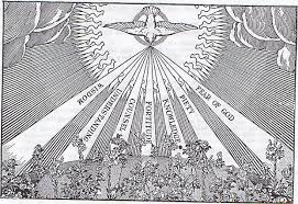 in the picture the holy ghost is represented by a dove it was in that form that the holy ghost showed himself visibly when st john baptized