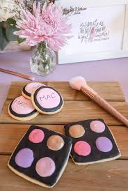 makeup palette sugar cookies from a beauty boutique garden party on kara s party ideas karaspartyideas