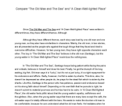 compare the old man and the sea and a clean well lighted place  document image preview