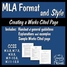 Works Cited Example Mla Format And Style Handouts And Sample Works Cited Page Tpt