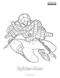 This coloring page shows spiderman hanging upside down, holding onto his cobweb. Spider Man Coloring Page Super Fun Coloring