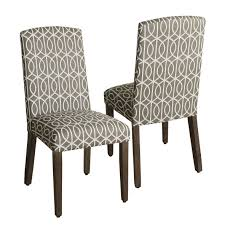homepop finely curved top parson dining chair set of 2 grey fabric