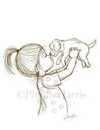 Small Picture Sketch Illustration of a Puppy and Little by PhyllisHarrisDesigns