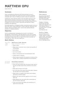 resume order of jobs warehouse order selector resume example resume wizards sample