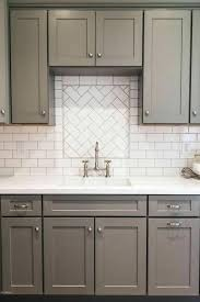 grey and white tile backsplash gray shaker kitchen cabinets with white subway tile herringbone sink view full size white subway tile backsplash gray grout