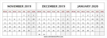 Calendar For November December 2019 January 2020 Print 2019