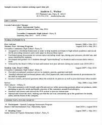 high school student part time jobs sample of resume for part time job by student part time job sample
