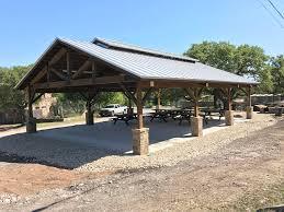 timber trusses rock house pavilion outland construction group